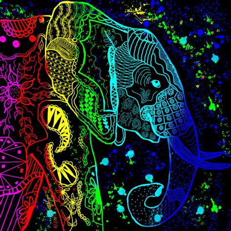 black background painting rainbow zentangle elephant with black background painting
