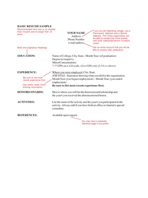 basic resume template pdf 2018 basic resume template fillable printable pdf