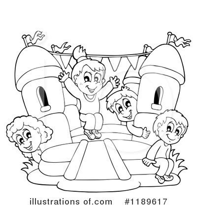 bouncy castle coloring page bounce house black and white clipart