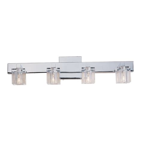 Chrome Bathroom Light Fixtures Portfolio 4 Light Polished Chrome Bathroom Vanity Light Lowe S Canada