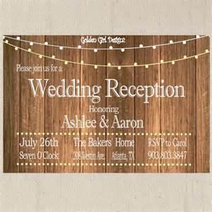 vintage lights wedding reception invitation on wooden background reception only invitation