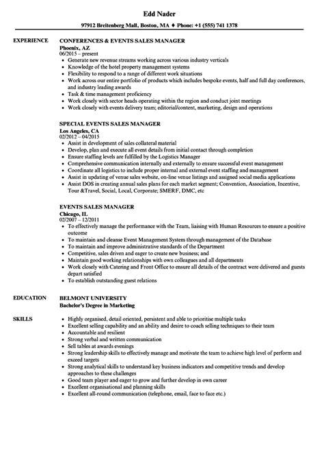 event manager sle resume events sales manager resume sles velvet