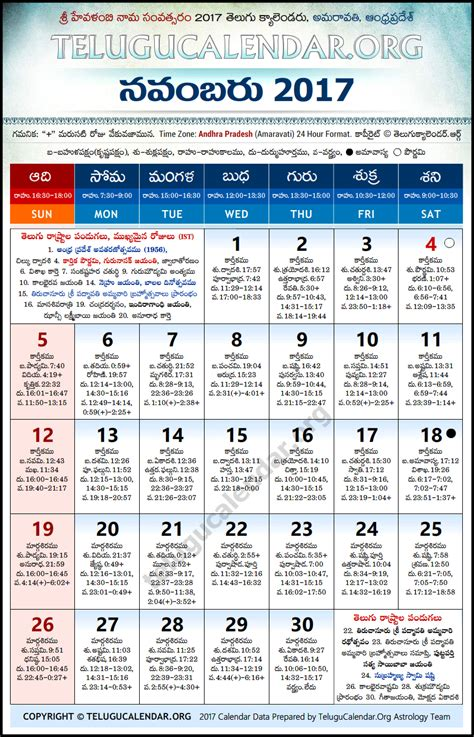 Calendar 2017 November Telugu Andhra Pradesh Telugu Calendars 2017 November
