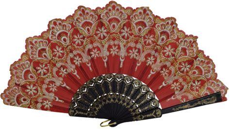 Handmade Fans - folding silk fan with glitter flower pattern 9 quot