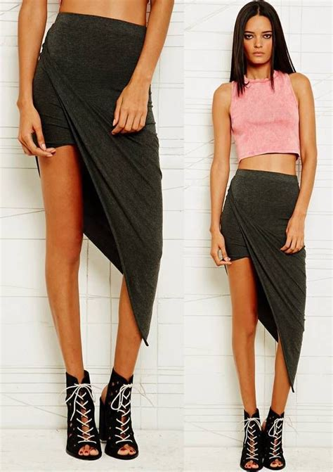 charcoal grey twisted draped high low mini maxi skirt