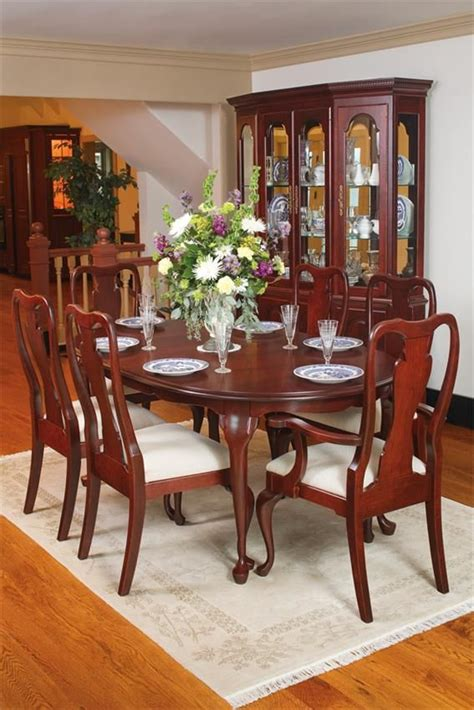 queen anne cherry wood dining table wood dining room