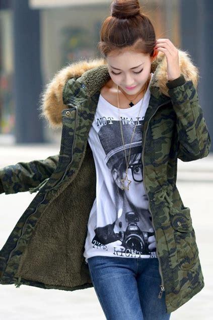 Camouflage Winterjacke Damen by Damen Wintermantel Mit Kapuze Jacke Frauen Parka Lang