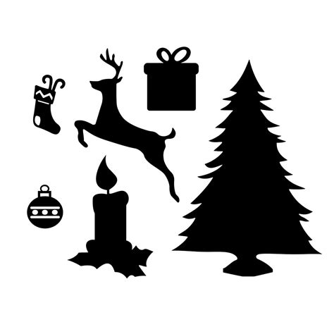 christmas dxf free tree gift candle set graphics by vectordesign on zibbet