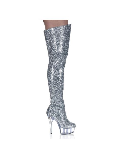 silver thigh high boots inch platform boots silver