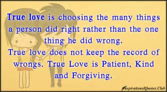 Club true love love choice right wrong record patient kind