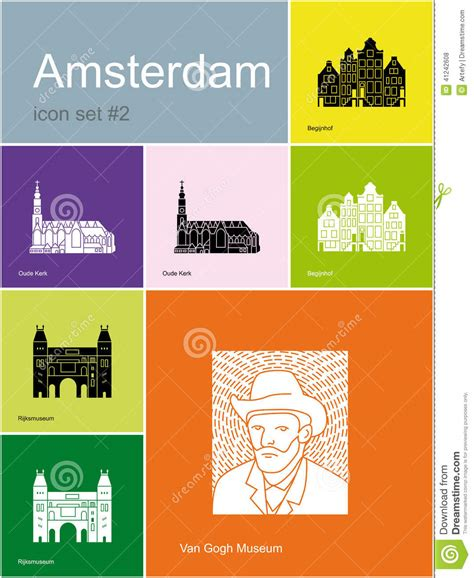 Amsterdam Fashion Icons And by Icons Of Amsterdam Stock Vector Image 41242608