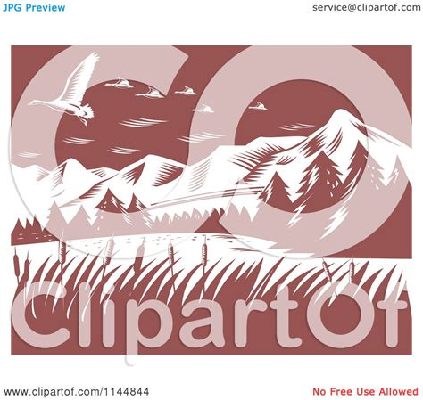 clipart of a retro woodcut clipart of retro woodcut mountains with geese royalty