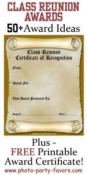 Class Reunion Favors by Free Printable Class Reunion Award Certificate With More