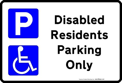 printable disabled parking sign free template for