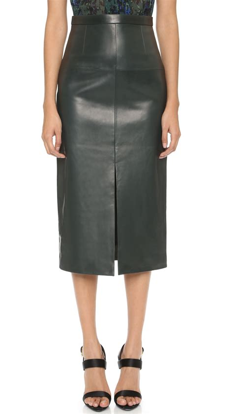 jason wu leather pencil skirt emerald in green lyst