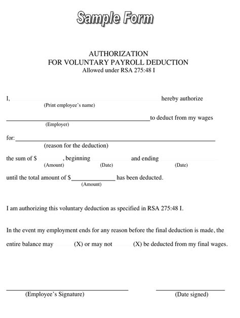 Loan Deduction Letter Format Sle Authorization For Voluntary Payroll