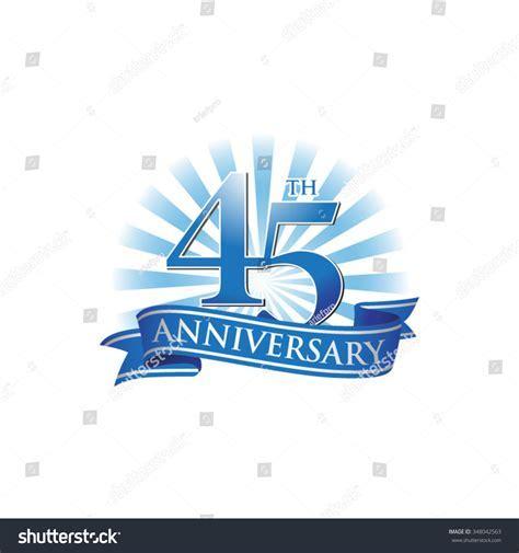 45th Anniversary Ribbon Logo Blue Rays Stock Vector