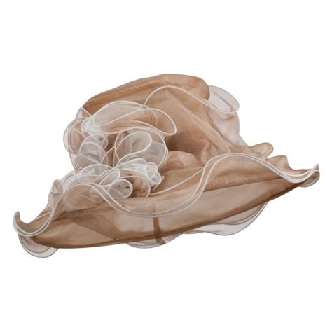 Two Tone Ruffle Accent Top dressy two tone ruffle accent organza hat e4hats