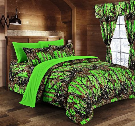 camo bed in a bag day glow green camo bed in a bag set the sw company