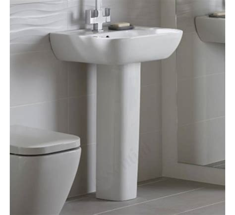 pedestal only for basin essential fuchsia pedestal basin only 550mm wide 1 tap
