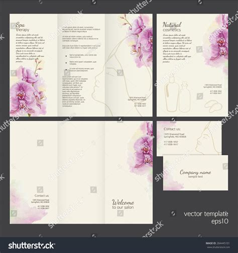 place card templates free orchid spa concept vector template watercolor orchid stock vector