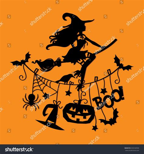 halloween themes line vector illustration sexy witch flying broomstick stock