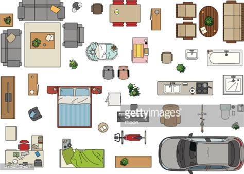 floor plan with furniture floor plan furniture vector getty images