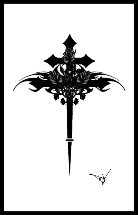 cross tattoo stencil black tribal stencil by midnite7175