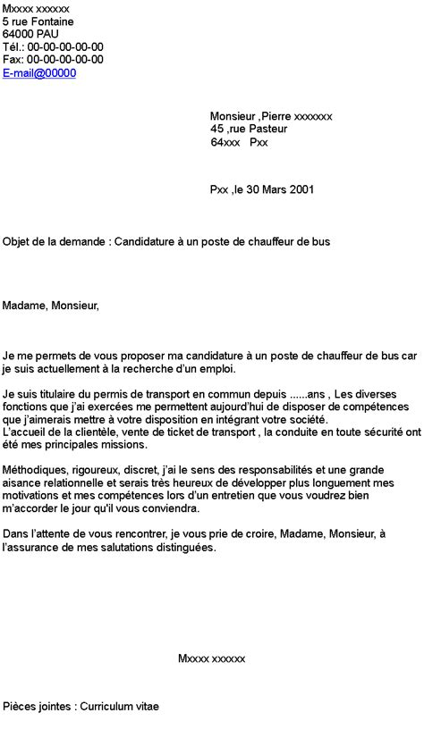 Lettre De Motivation De Transport En Commun Candidature 224 Un Poste De Chauffeur De