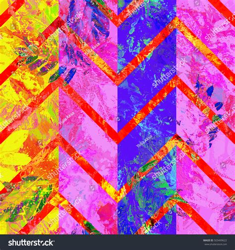 zig zag pattern painting colorful leaves pattern zigzag ornament watercolor stock