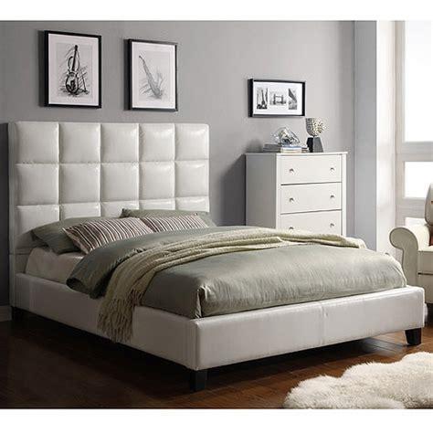 curtis queen tufted bed white vinyl walmart com