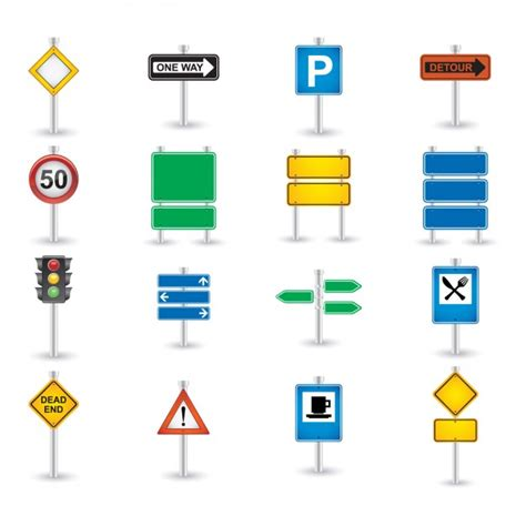 road sign icon set vector free download