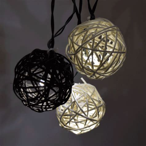 rattan string lights twig rattan grapevine balls led solar powered