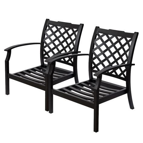 Black Patio Chair Shop Allen Roth Set Of 2 Carrinbridge Black Aluminum Slat Patio Chair At Lowes