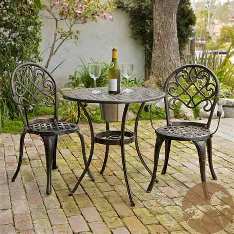 christopher knight home cozumel antique copper cast aluminum bench angeles cast aluminum outdoor bistro furniture set with
