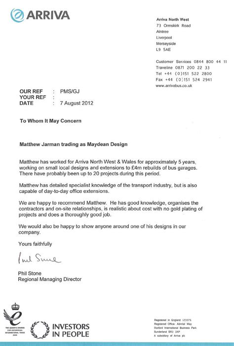 maydean design architectural services reference letter