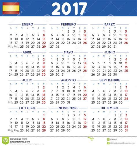 Calendario N 2017 Ajust 243 Espa 241 Ol Calendario Ilustraci 243 N Vector