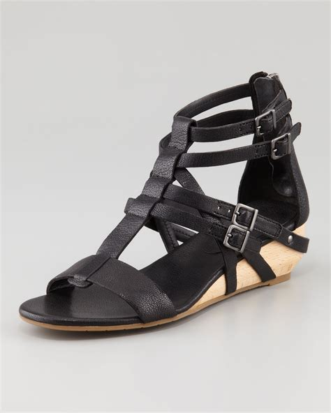 gladiator low wedge sandals eileen fisher low wedge gladiator sandal in black lyst