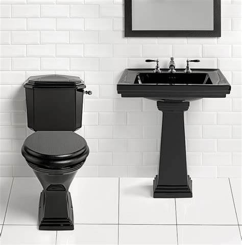 Astoria Deco 640mm Black Large Basin With Pedestal