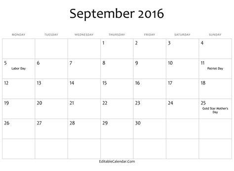 printable monthly calendar september 2016 2016 september calendar editablecalendar com