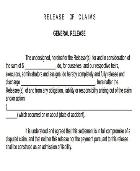 7 Sle General Liability Release Forms Sle Templates Release Of Claims Template