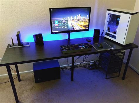Pc Gaming Desk Setup Cool Gaming Computer Desk Setup With Black Ikea Desk Linnmon Adils Minimalist Desk Design Ideas