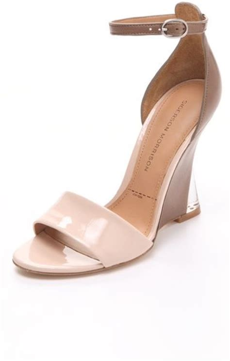 blush colored sandals sigerson morrison dali colorblock wedge sandals in pink