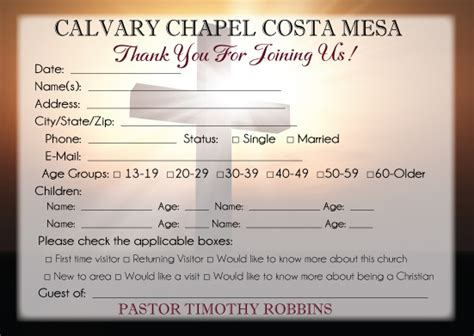 welcome card template welcome for church visitors cards templates