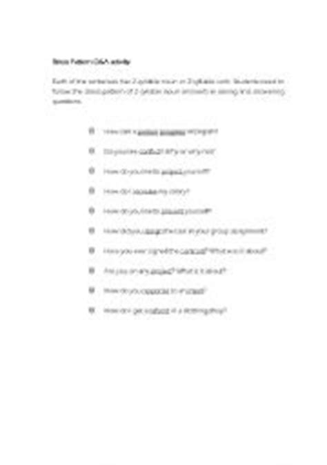 stress patterns english worksheet english teaching worksheets stress