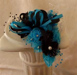 turquoise corsage wrist corsage turquoise and black prom homecoming wedding