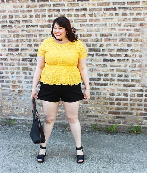 Rok Peplum Size 2 5y sting like a bee yellow lace peplum top and black shorts