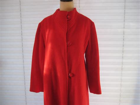 red swing coat red wool swing coat 50s 60s coat size medium to large mid