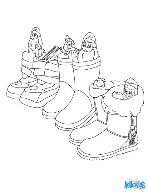German Santa Coloring Page | german boots filled with gifts coloring pages hellokids com
