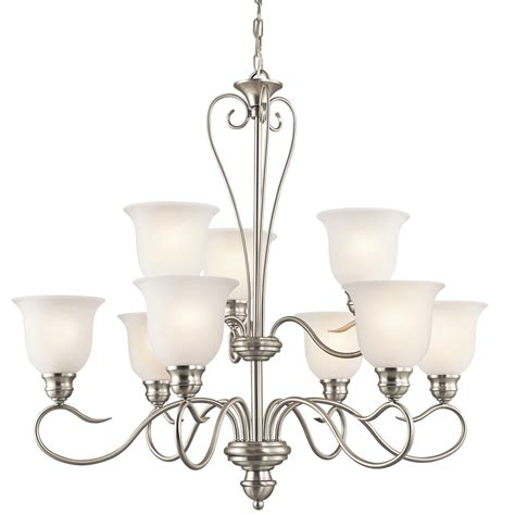 Brushed Nickel Chandelier Shop Portfolio 9 Light Brushed Nickel Chandelier At Lowes